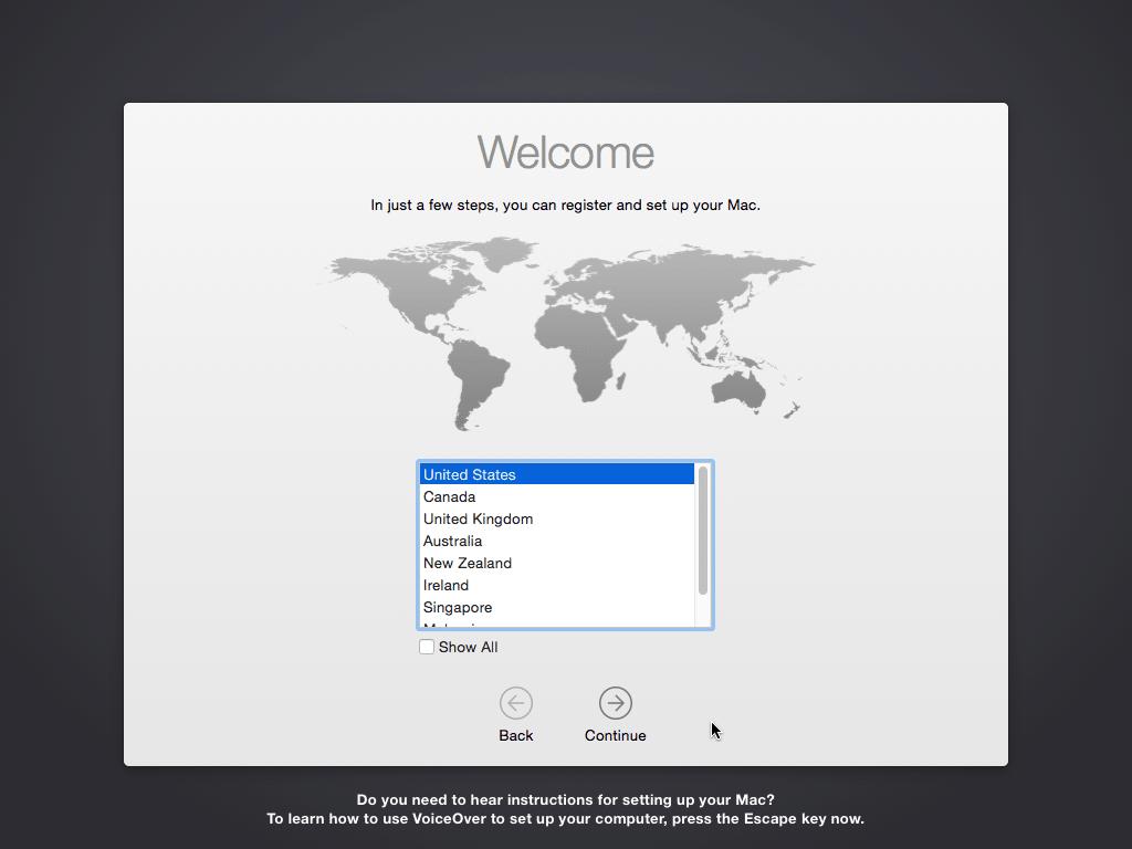 Paramètrage d'OSX Yosemite