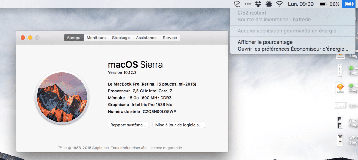 Retrouver l'estimation de la batterie sur macOS 10.12.2 sans apps tierces